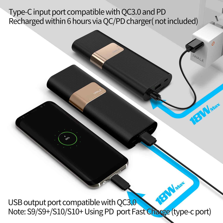 iWALK 20000mAh Alta Capacidad Móvil Batería Externa, Power Pack Cargador PD Quick Charge 3.0 Rápida Carga Power Bank con Cables Type C & Micro USB ...