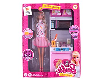 Buy Barbie Doll With Kitchen Set Birthday Gift Item For Kids