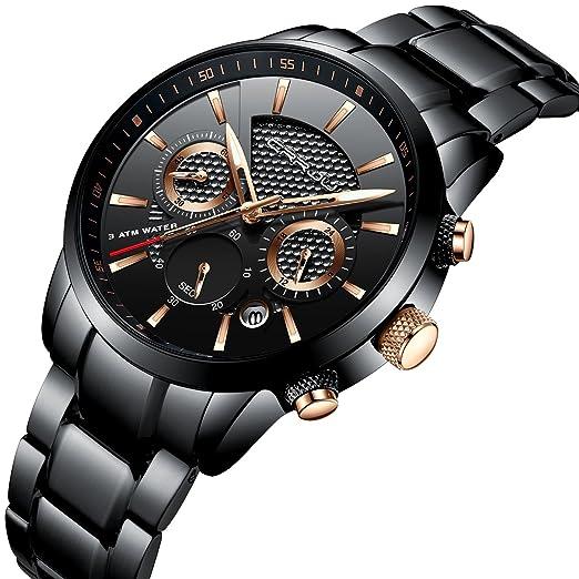 Reloj para hombre de acero inoxidable negro y cuarzo analógico. Reloj de pulsera con cronógrafo, impermeable y fecha: Amazon.es: Relojes