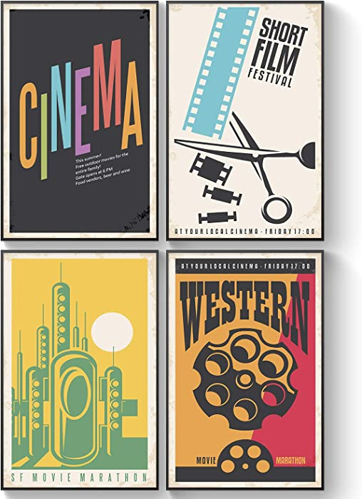 Pillow & Toast Movie Theater Cinema Classic Posters, Set of Four 11x17, Kids Bedroom Home Decor