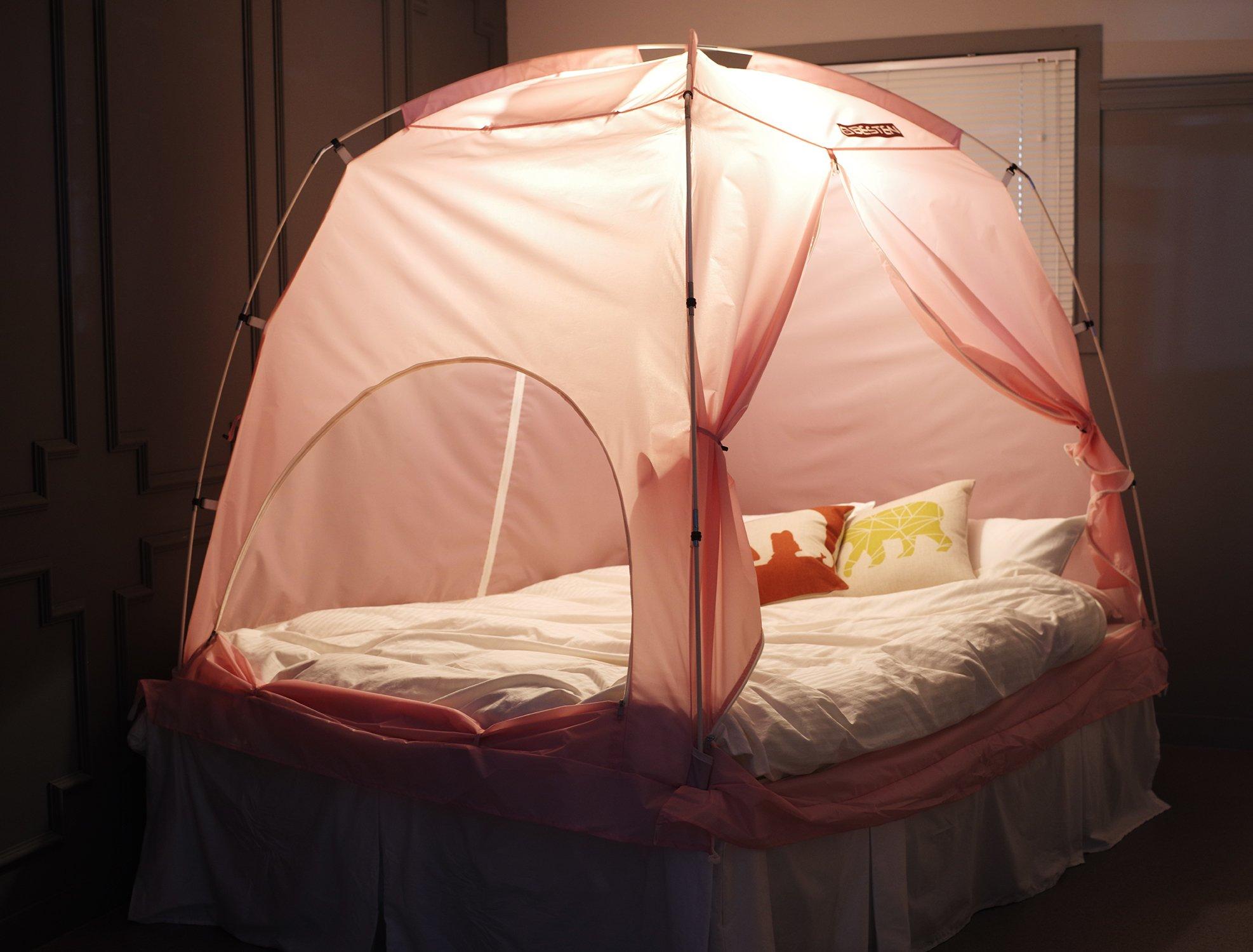 BESTEN Floorless Indoor Privacy Tent on Bed for Warm and Cozy Sleep inside Drafy Room (FULL/QUEEN, Pink)