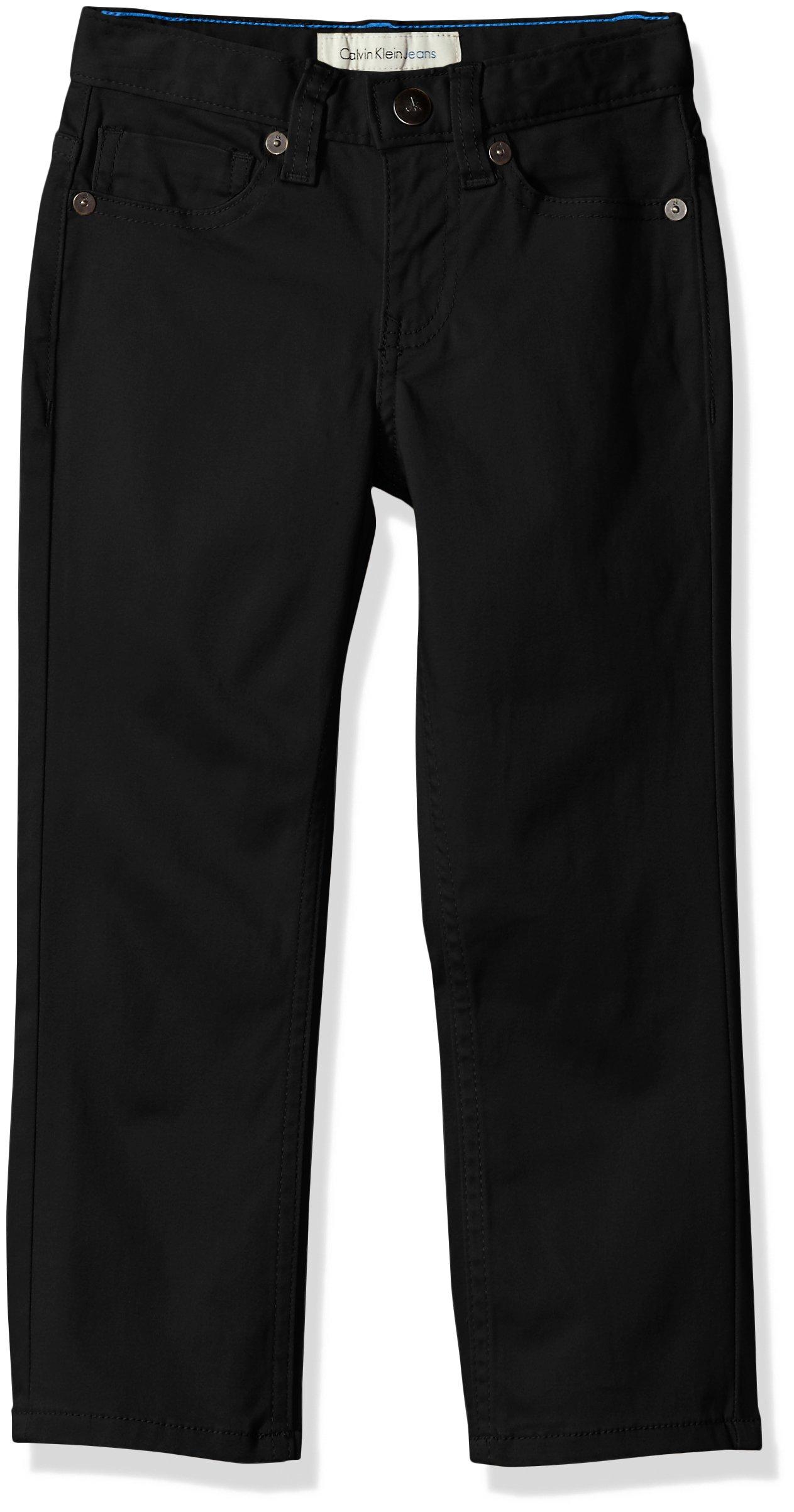 Calvin Klein Boys' Big Skinny Stretch Sateen Pant, Black, 8