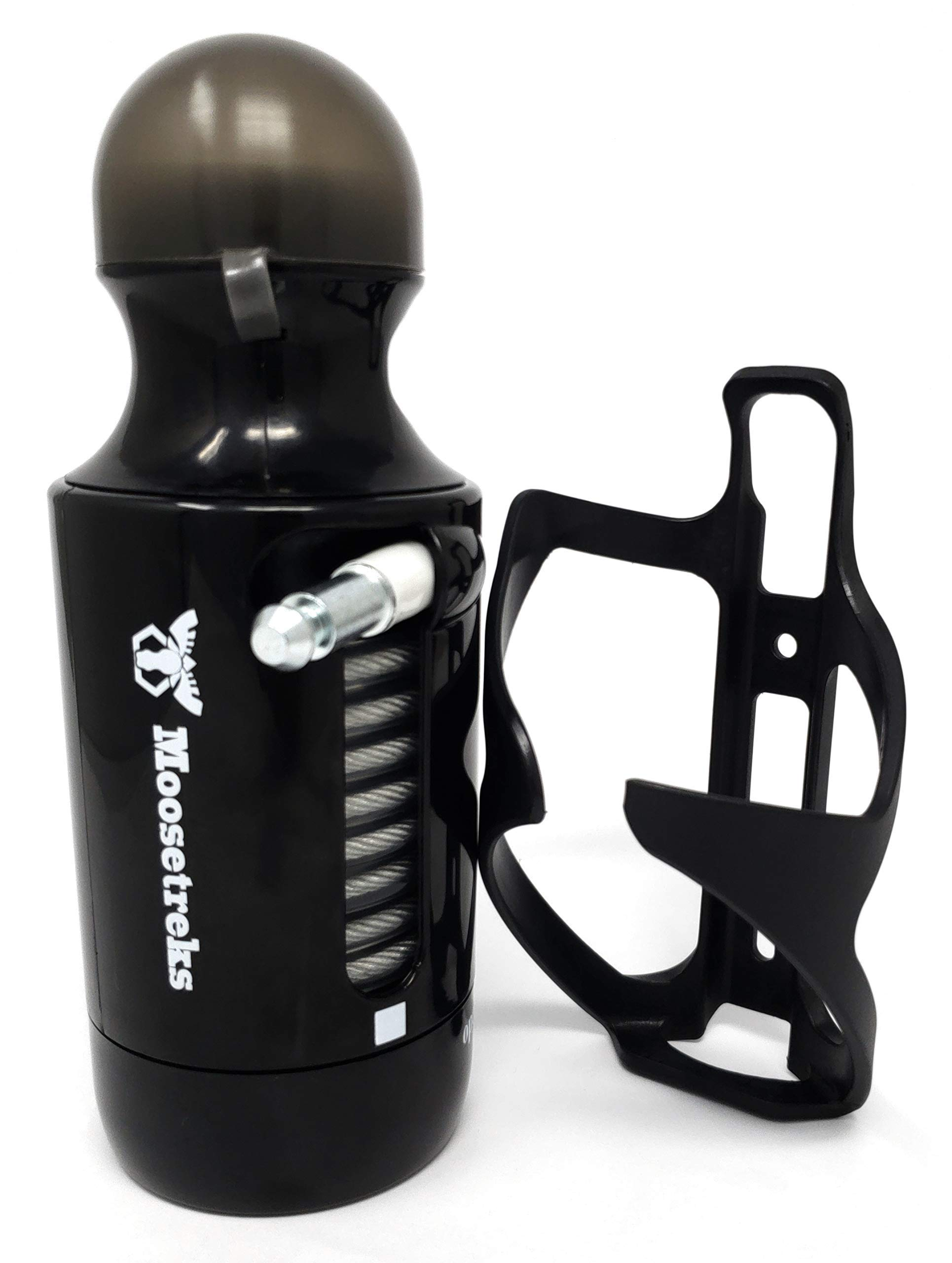 Moosetreks Bike Bottle Lock with Cage | Bottle-Shaped Bike Cable Lock with Free Bottle Cage