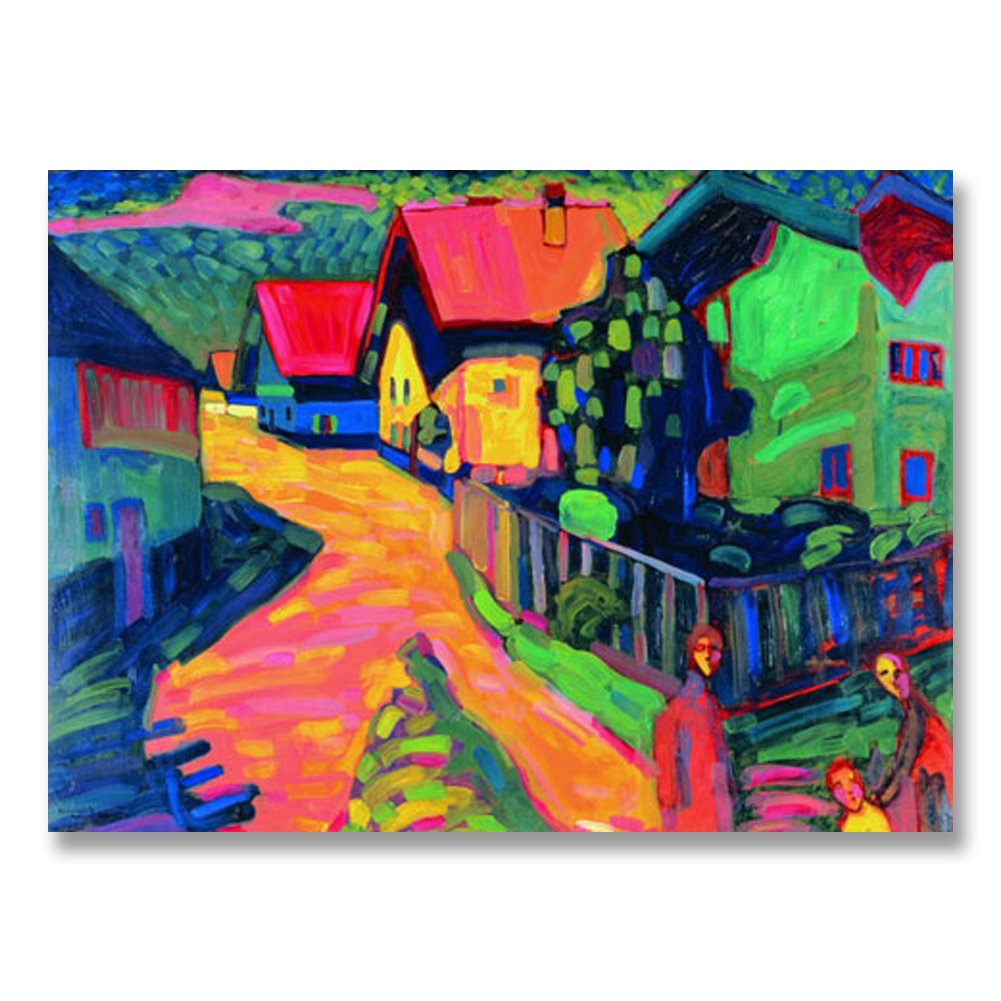 Wassily Kandinsky Murnau Street With Women 1908 Original Landscape Canvas Paintings Hand Painted Reproduction Unframed Tablet - 36X26 inch (91X66 cm) for Living Room Wall Decor To DIY Frame