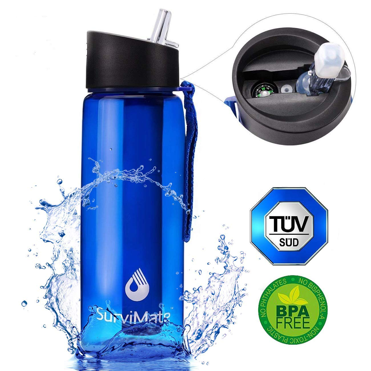 SurviMate Filtered Water Bottle for Camping, Hiking, Backpacking and Travel, BPA Free with 4-Stage Intergrated Filter Straw (Blue) by SurviMate