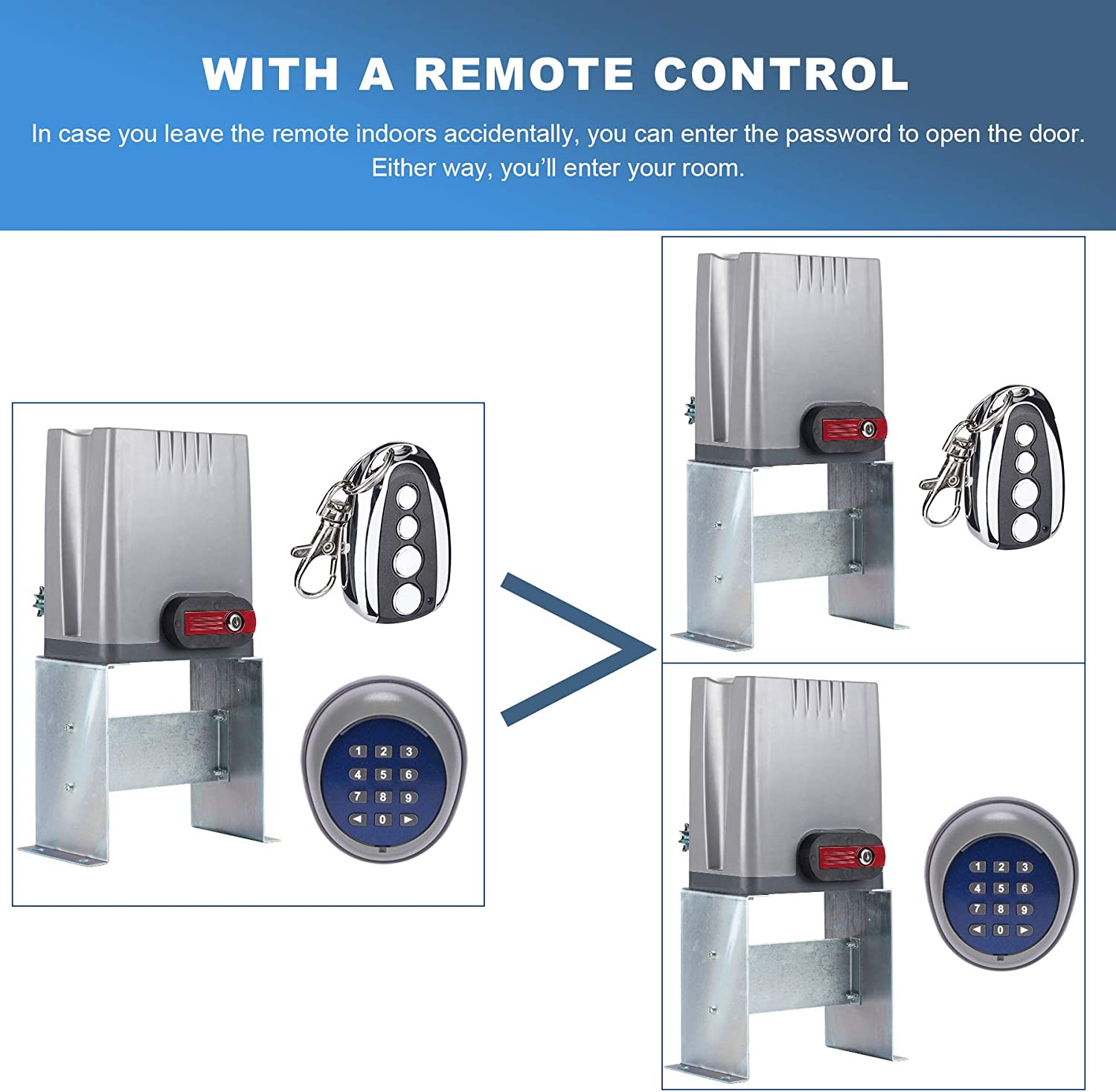 Domingo Petrucci Security Gate Keypad Wireless Entry Remote Operator Panel Control for Automatic Sliding Gate Opener Motor