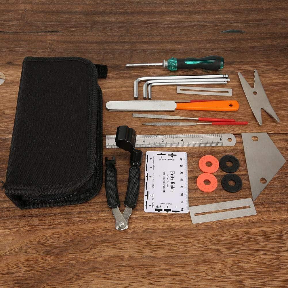 Devanadera de cuerda 3 en 1 con regla de traste Kit de herramientas de mantenimiento de guitarra, herramienta de reparación Luthier, con bolsa con cremallera para(Guitar repair tools)