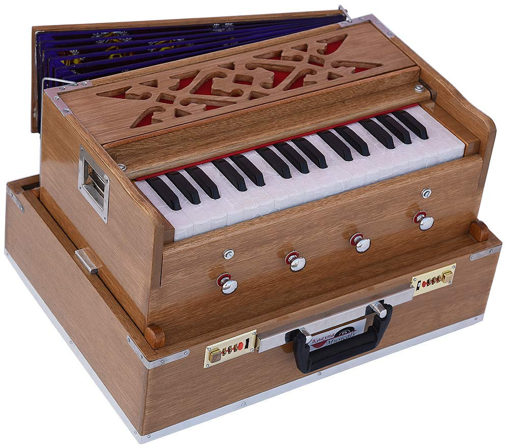 Mini Traveler Harmonium- 2¾ Octave By Kaayna Musicals-Portable, Baja, 4 Stops (2 Drone), Two Set Reed- Bass/Male, Teak Color, Gig Bag, Tuning: 440 Hz, Suitable for Yoga, Bhajan, Kirtan, Mantra, etc.