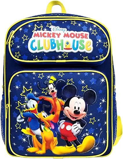 """New Disney Mickey Mouse Club House 16/"""" Backpack Large Kid/'s School Backpack"""