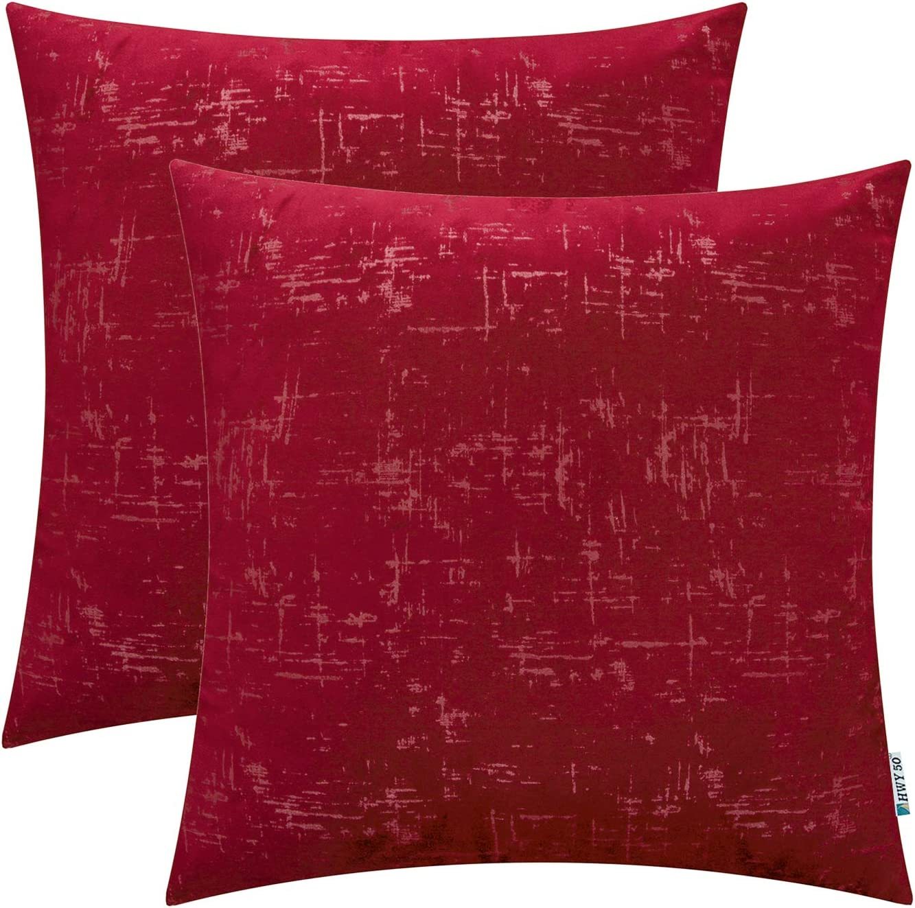 HWY 50 Velvet Soft Solid Decorative Throw Pillow Covers Set Cushion Cases for Couch Bed Sofa Burgundy Comfy Wine Red Decor 20 x 20 inch Pack of 2