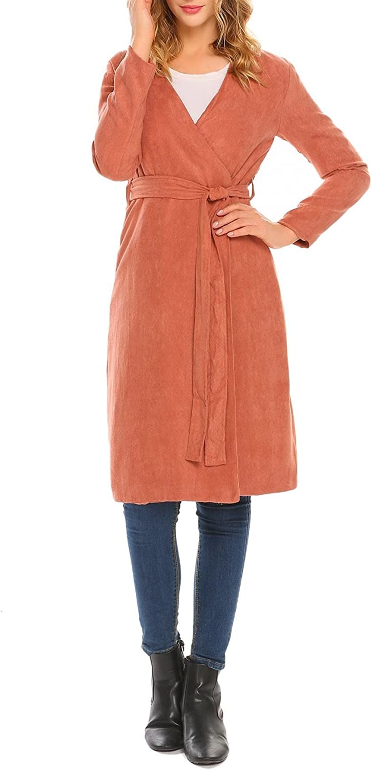 Dethler Womens Open Front Long Trench Coat Solid Knitted Sweater Faux Cardigan