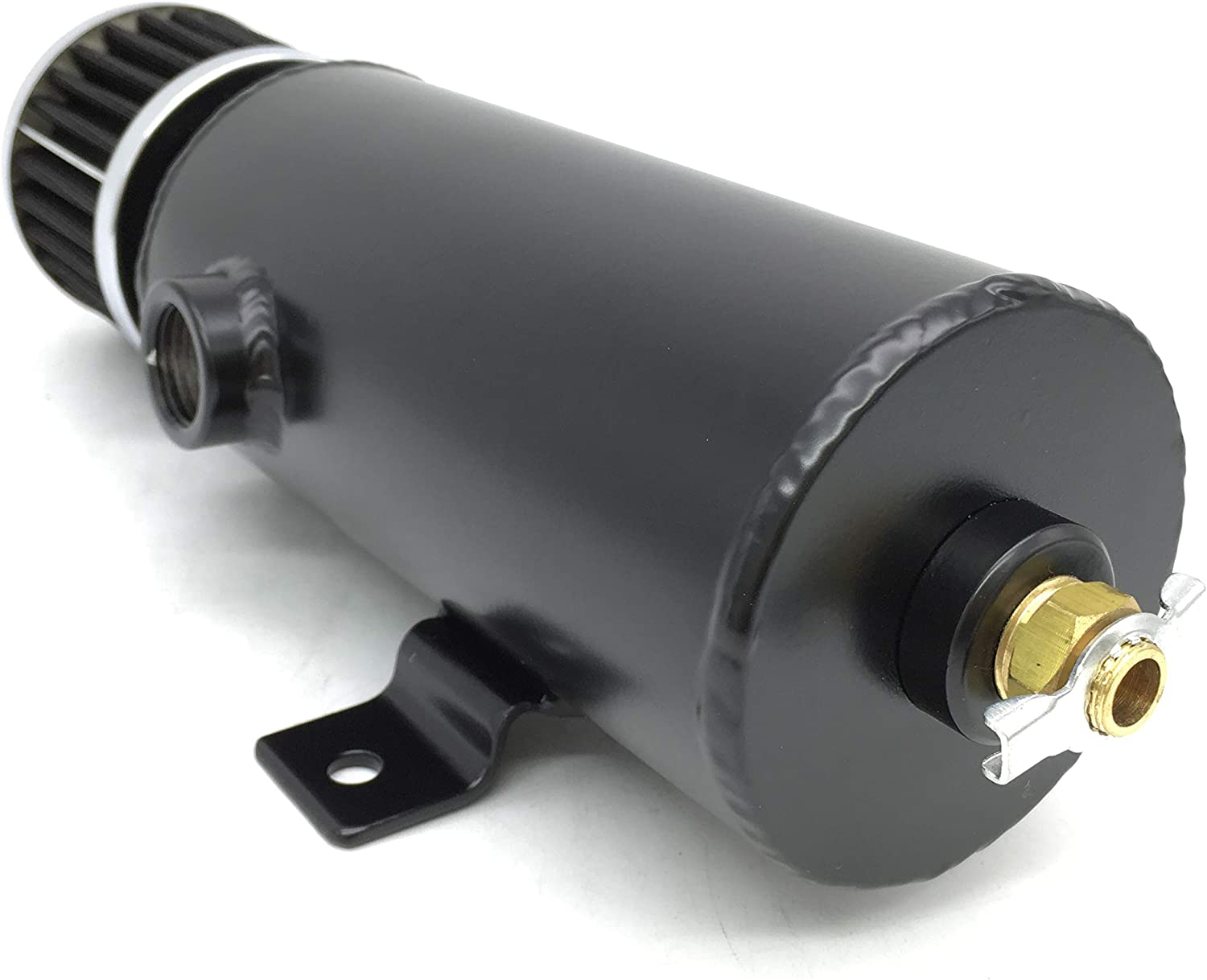 0.75L Aluminum Breather Catch Tank With Two 1//2 NPT Black