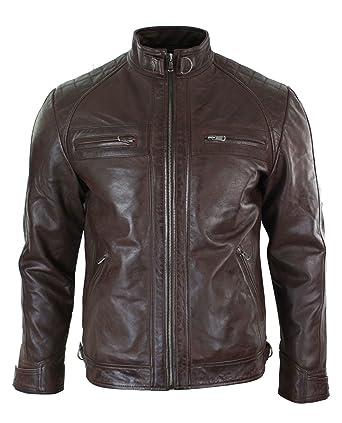111e4da9e972 Veste cuir véritable souple homme style biker rétro look décontracté ...