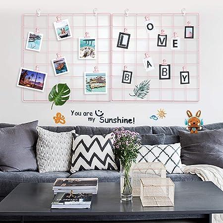 LOMOFI Grid Photo Wall, Ins Display Wall de Pared, para Photo Hanging Display & Wall Decoration Organizer, 14 x 14 Pulgadas, Rosa (Juego de 2)