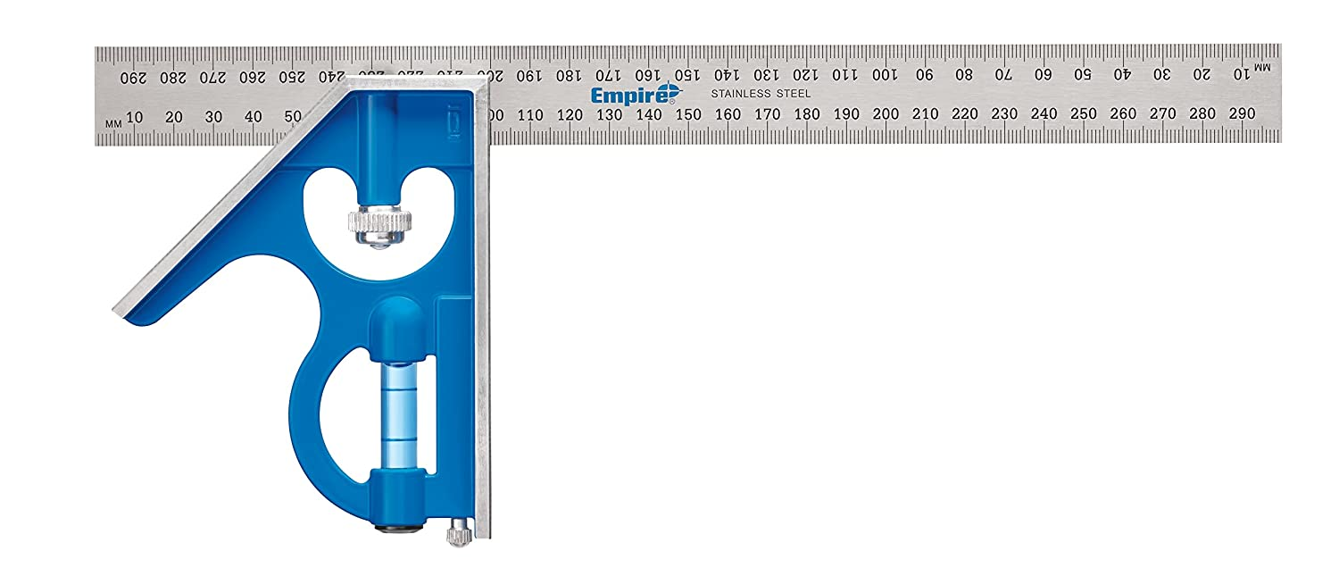 Empire Level E250M 12 Inch Heavy Duty Professional Combination Square With Etched Stainless Steel Blade Metric Graduations and True Blue Vial