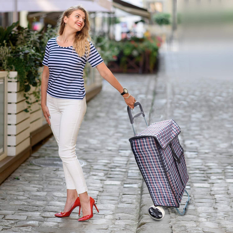 Smartfox Thermo Einkaufstrolley Trolley Shopping Trolley Shoppingtasche Einkaufsroller Einkaufshilfe mit K/ühltasche in rot
