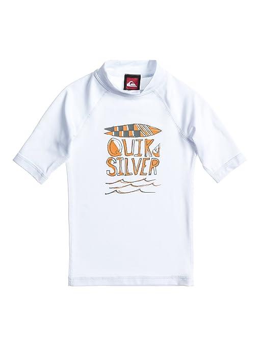 Quiksilver Camiseta de licra, manga corta y cuello cerrado para niño (agua no penetra