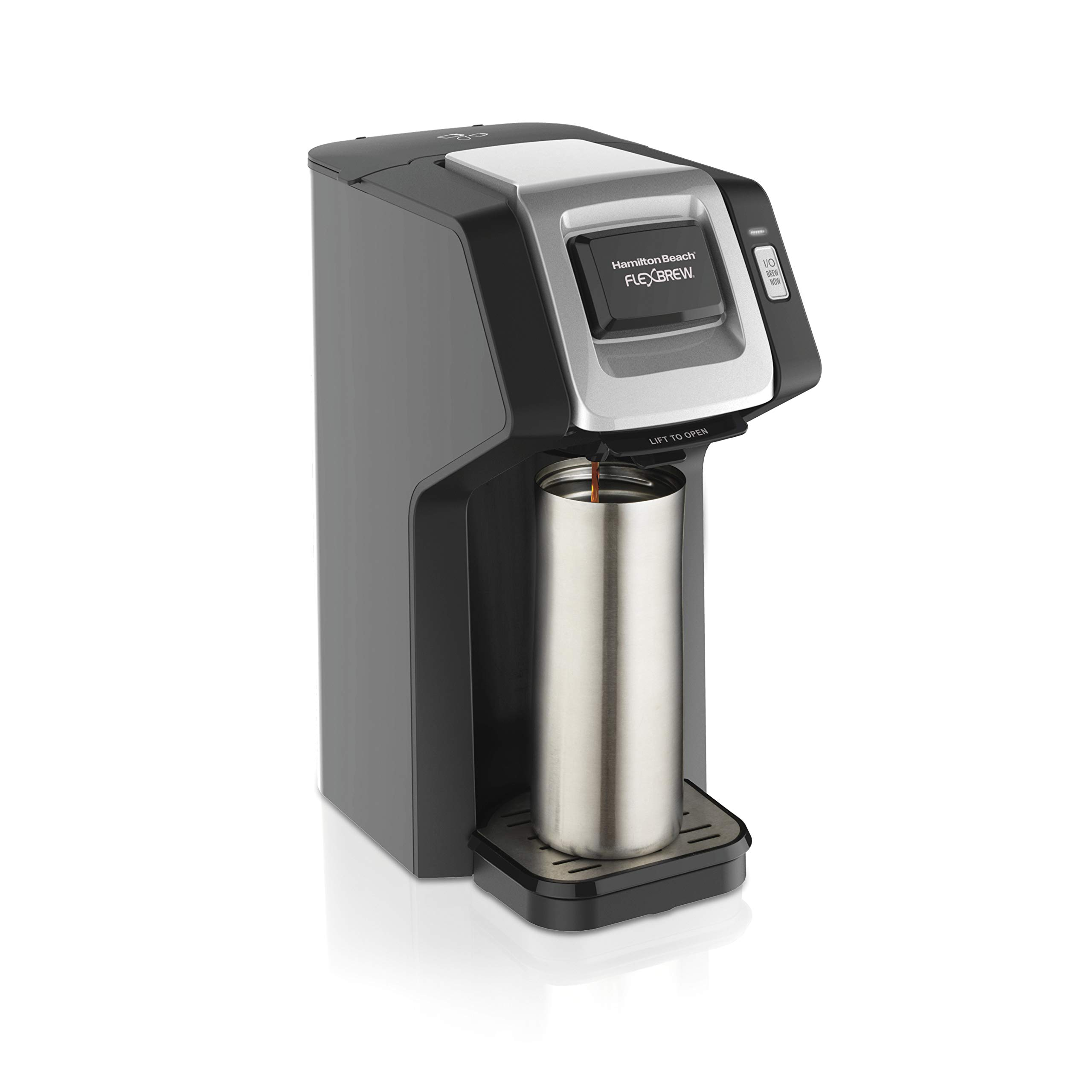 Hamilton Beach (49974) Single Serve Coffee Maker, Compatible with pod Packs and Ground Coffee, Flexbrew, Black by Hamilton Beach