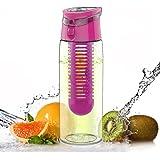Infuseur à fruits/légumes anti-fuites 700ml & 800ml Bouteille d'eau avec poignée de transport - Sans BPA