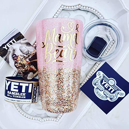 MAMA Bear 20 Ounce YETI RAMBLER Tumbler, Gift For MOM, Double Walled  Stainless Steel, Pink Pearl Glitter Custom Chunky Gold Mix, Sealed FDA  Epoxy