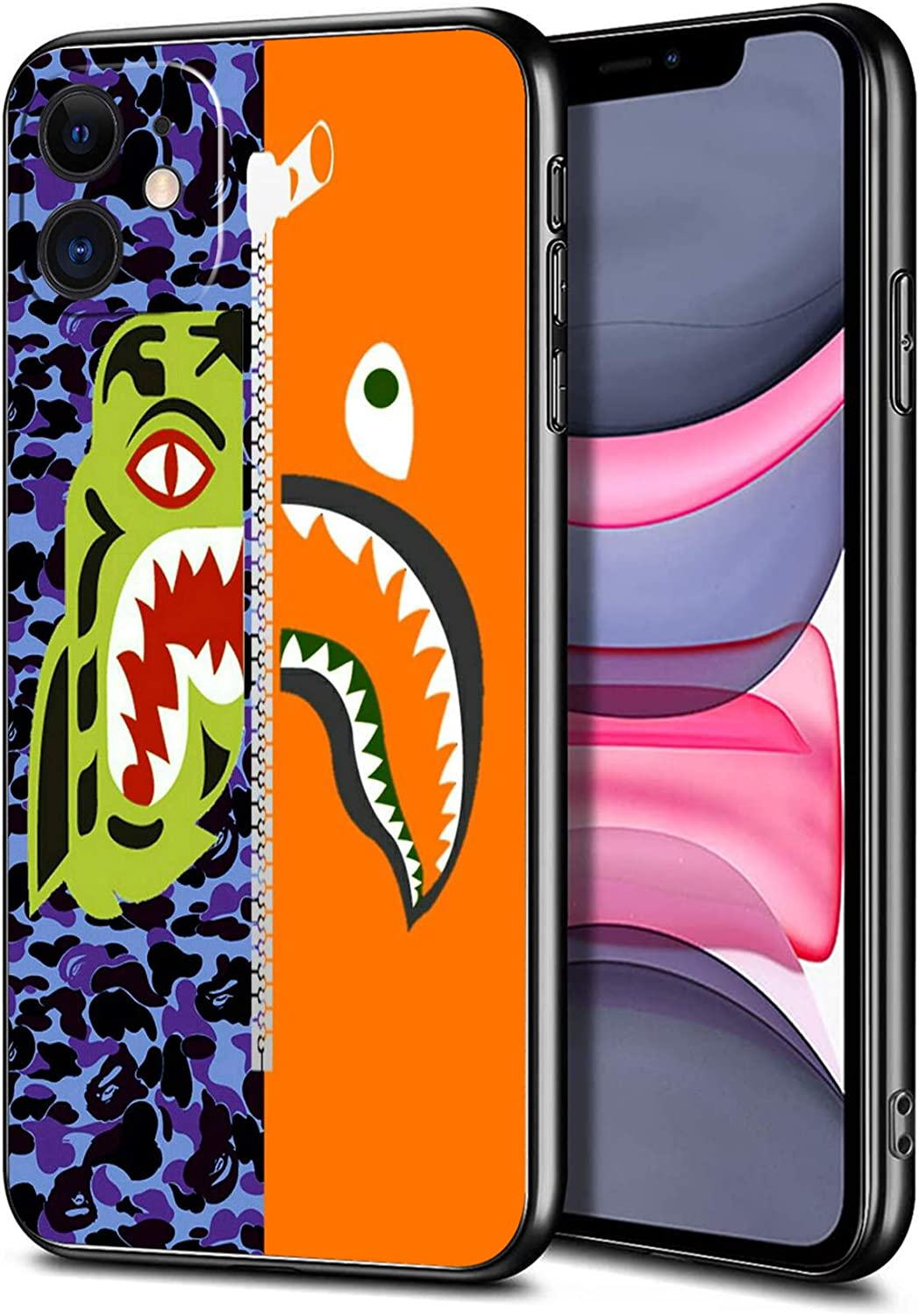 iPhone 11 Case, Shark Face Slim Thin Protective Cover Phone Case for iPhone 11 (6.1 inch) (Half-Bape-Half-Tiger)