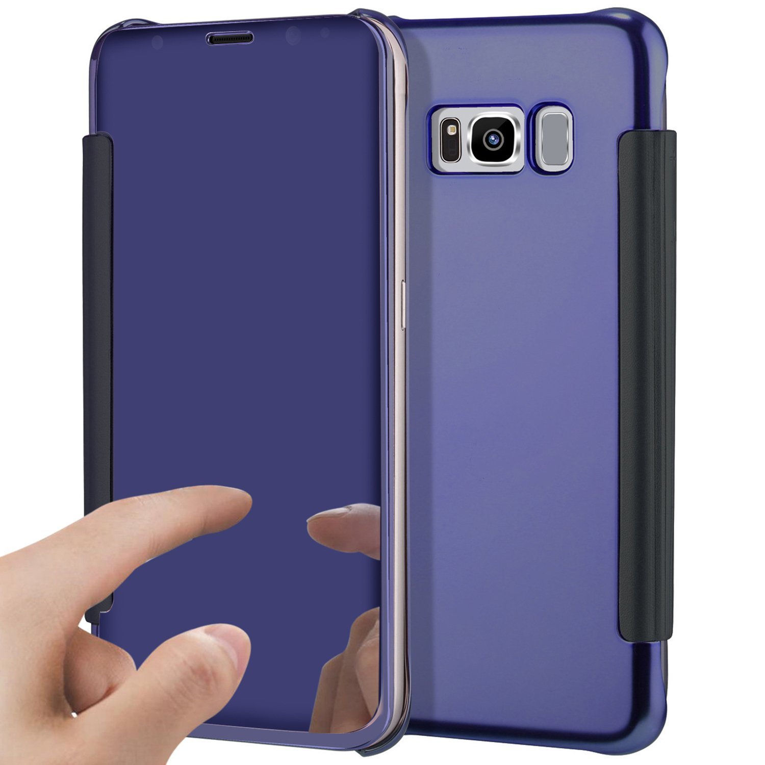 PHEZEN Galaxy S8 Case, Luxury Mirror Makeup Case Plating Clear View PU Leather Flip Folio Case Magnetic Closure Full Cover Case for Samsung Galaxy S8 (Purple)