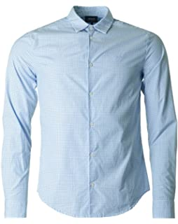 aaa192b2 Emporio Armani Armani Men's Slim Fit Stretch Shirt Blue: Amazon.co ...