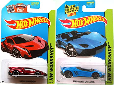 Amazon Com Lamborghini Hot Wheels Set Blue Aventador J Red Veneno
