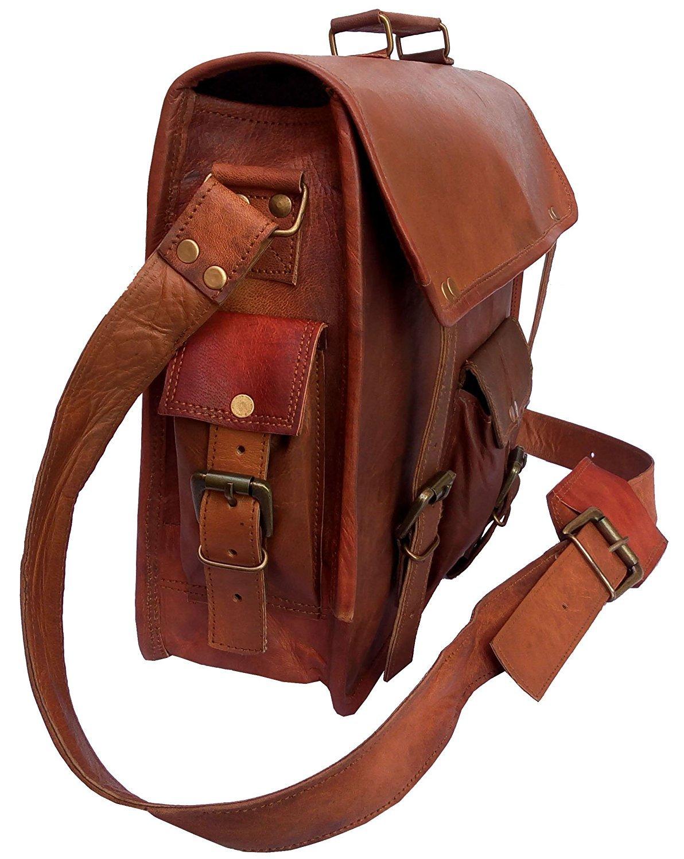 AOL Brown Vintage Leather Messenger Bag Briefcase / Fits upto 15 Inch Laptop