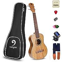 Acoustic Concert Ukulele Zebra Wood Portable Ukelele 23 inch Beginners Starter Kit Acoustic Ukulele Professional with Accessories, by Vangoa