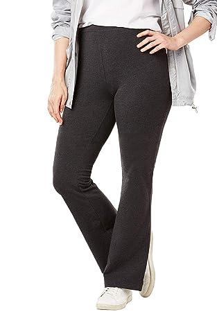 Yog Pantalones para mujer, talla grande, elástico, de algodón ...