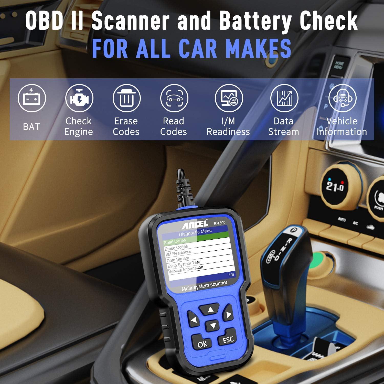 ANCEL BM500 Lecteur de Code OBD2 Tout Syst/ème Diagnostique Scanner R/éinitialisation EPB CBS Vidange Huile Batterie PCM Adaptations PCM Fonctions Avanc/ées