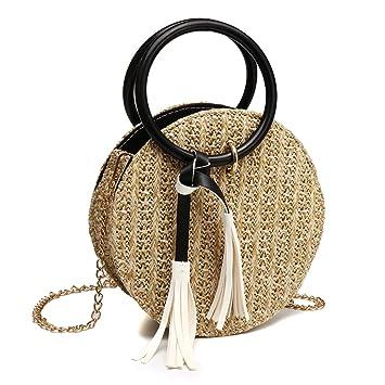 5bd75c01f Bolsas redondas de paja,OURBAG Bolso bandolera pequeño mujer retro Bolsa de  embrague de playa de verano Amarillo: Amazon.es: Equipaje