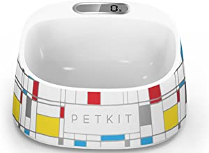 PETKIT 'FRESH' Anti-Bacterial Waterproof Smart Food Weight Calculating Digital Scale Pet Cat Dog Bowl Feeder w/ Inlcuded Batteries, One Size, Brick Pattern