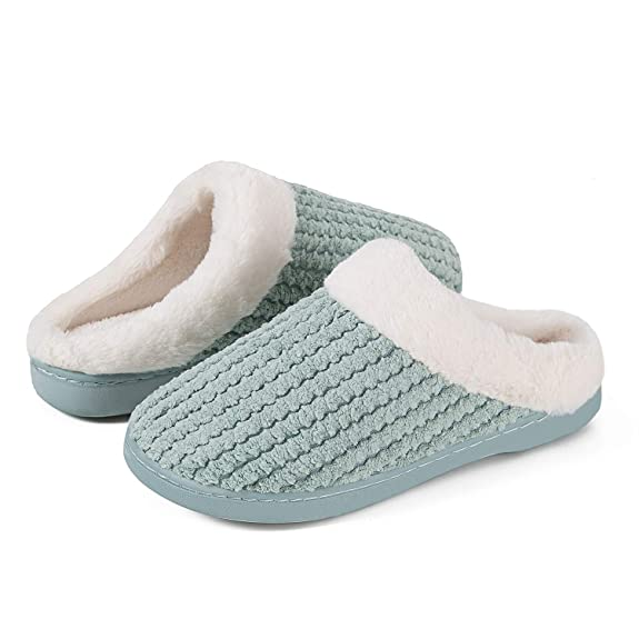 Women's Slippers Comfort Memory Foam Coral Fleece Slippers Plush Lining House Shoes for Indoor & Outdoor (Green, M) best women's slippers