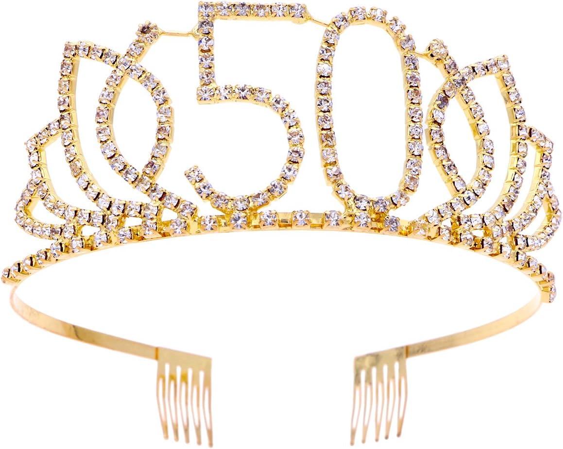 Frcolor Cumpleaños Tiara, Diamantes de imitación 50.as coronas de cumpleaños Feliz 50.o cumpleaños (Oro)