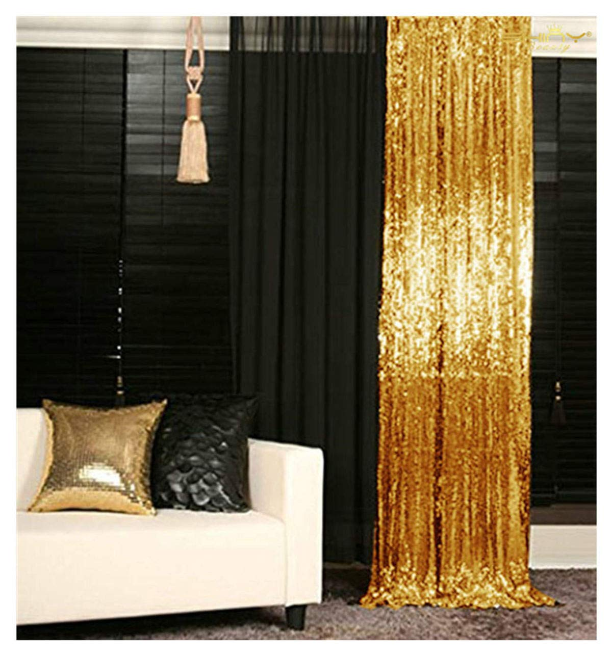 Sequin Curtain Backdrop 2 Panels 4FTx6FT Gold Backdrop Curtain Photo Booth Backdrop 48inx72in -190425E by ShiDianYi