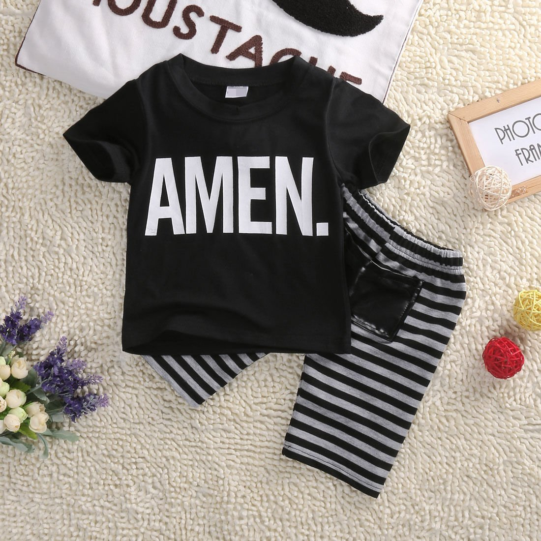 Flower Tiger Little Boys A Man Letters T-Shirt and Striped Shorts 2Pcs Outfit Set