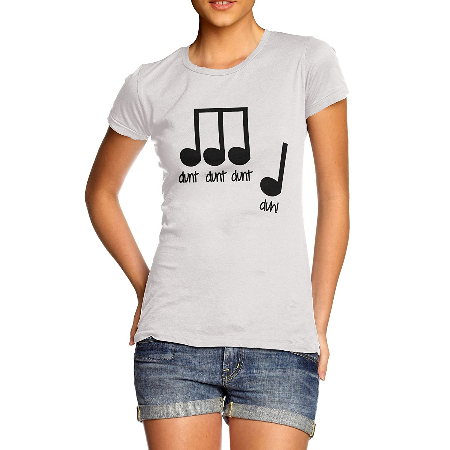 Amazon.com: Women Cotton Novelty Funny Music Note Print T-Shirt ...