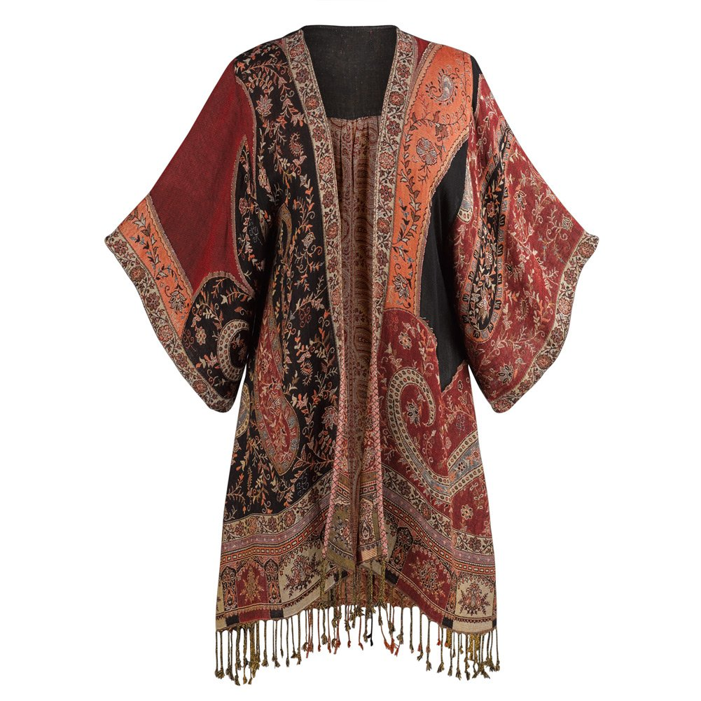 CATALOG CLASSICS Women's Paisley Kimono Jacket - Red Tapestry Print Fringed - Medium/Large