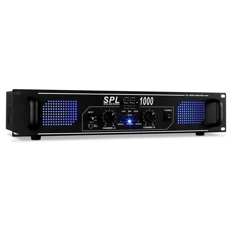 Skytec SPL1000 Ampli DJ PA Sono Pro avec equalizer 3 bandes pour scène, monitoring ou studio (2800W en crête au total, 2 Canaux,Rackable 48cm, AUX) noir 4060656080371