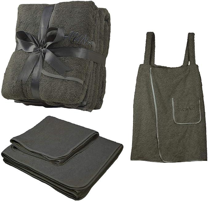 Juego de 3 toallas de rizo para sauna, toalla para la cintura, toalla de mano y toalla grande, color beis y gris oscuro, 100% algodón, gris oscuro, ...