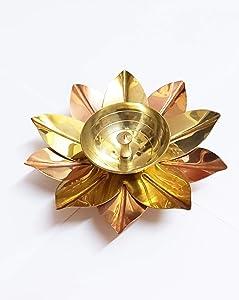 PARIJAT HANDICRAFT Brass Lotus Kuber Diya for Puja Home Décor Brass Diya Deepak Oil Lamp Small Lotus Kamal Shape for Home Temple Puja Articles Decor Gifts Giting (4 Inch)