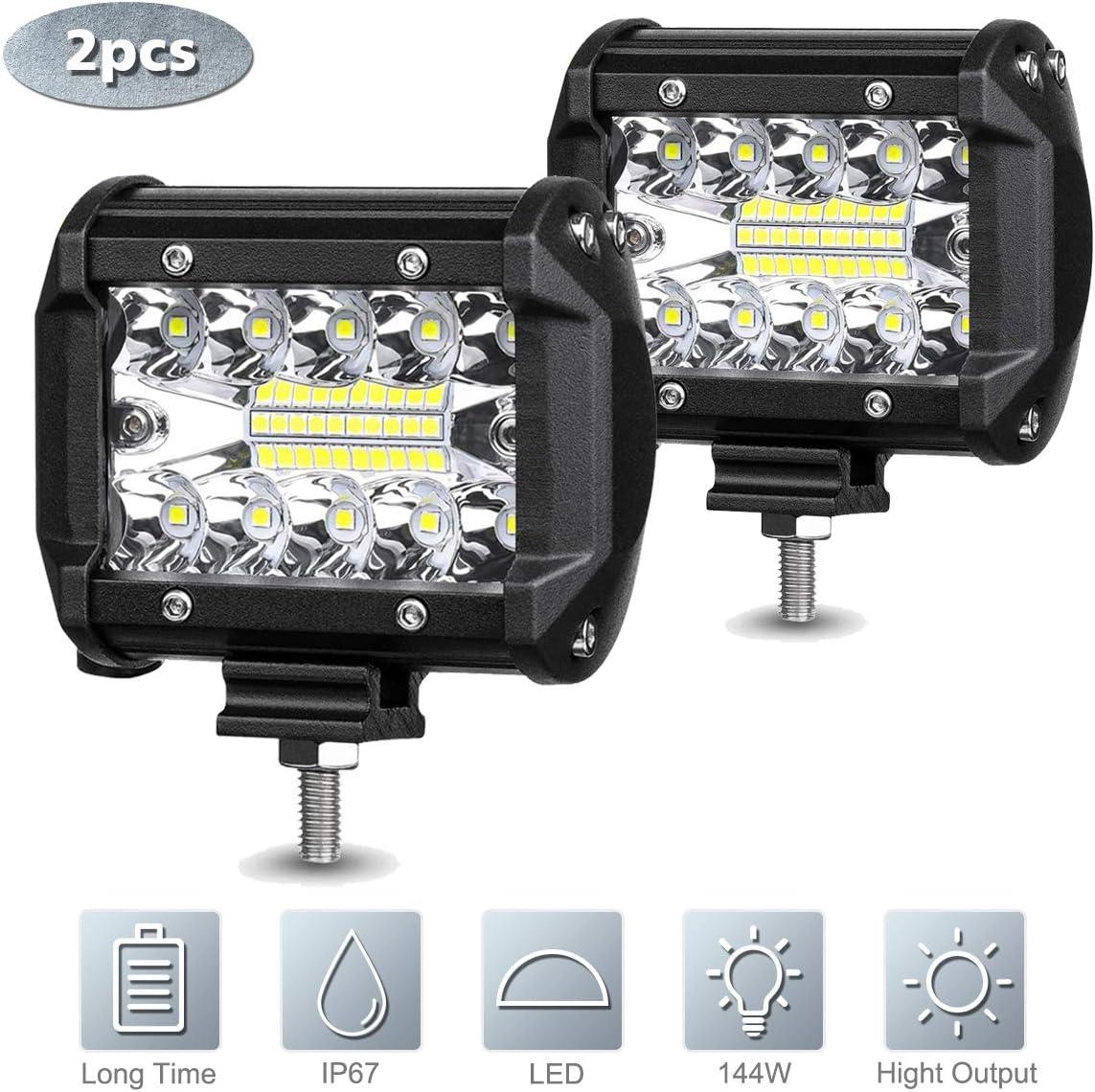 Traktor Jeeps LED Arbeitsscheinwerfer SUV ATV 2Pcs 4 LED Bar Zusatzscheinwerfer 7200LM 6000K 12V IP68 Nebelscheinwerfer Offroad Flutlicht Arbeitsleuchte f/ür LKW