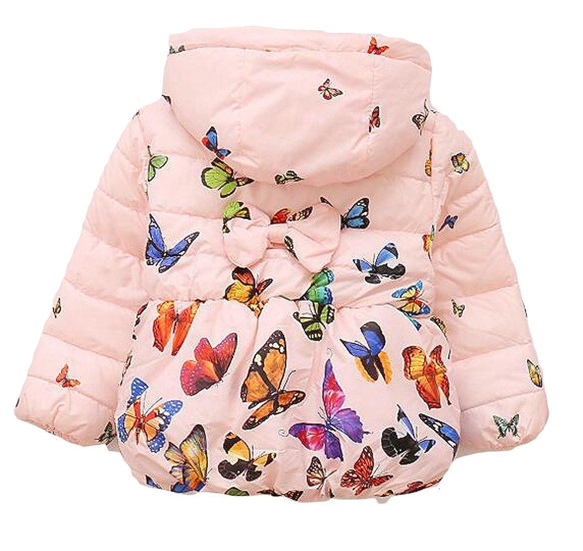 Sweatwater Girls Fashion Bubble Hooded Butterfly Print Overcoat Jackets Coat