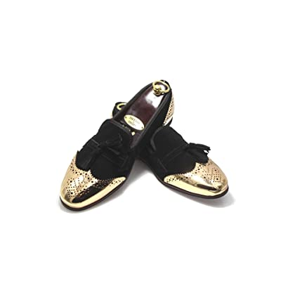 Smythe and Digby Gold Toe Cap Black Suede Tassel Loafers   Loafers & Slip-Ons