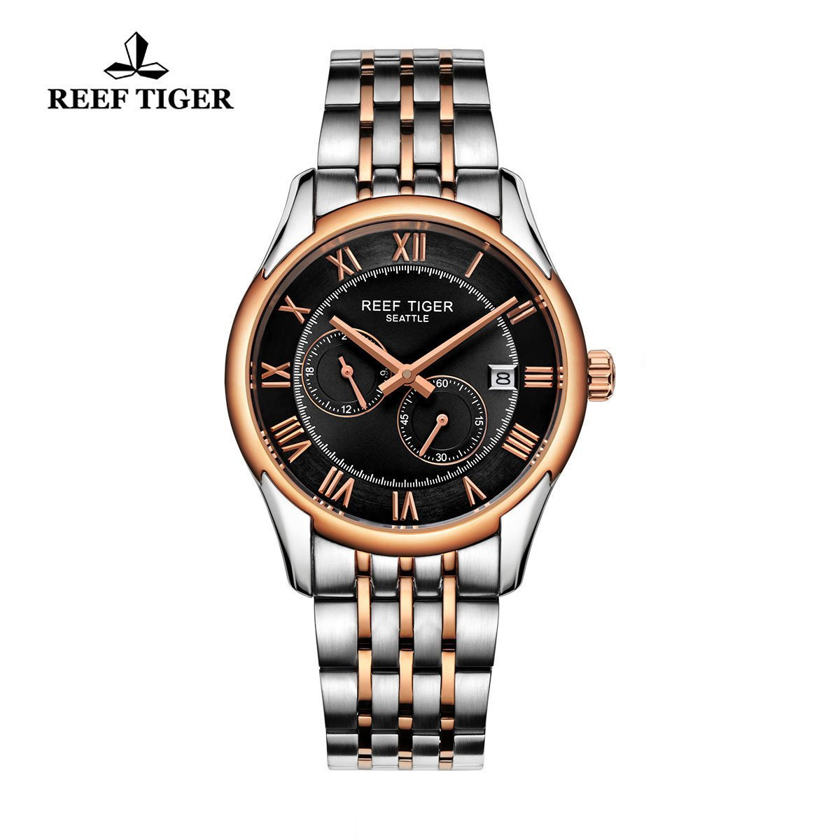 Reef Tiger Business Watches Date Four Hands Rose Gold Steel Black Dial Watch RGA165