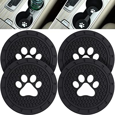 Boao 4 Packs Paw Car Coasters Car Cup Holder Coasters Silicone Anti Slip Dog Paw Coaster Mat Accessories for Most Cars, Jeeps,Trucks, RVs and More, 2.75 Inch: Automotive