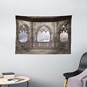 Ambesonne Gothic Tapestry, Medieval Stone Balcony Graphic Design Mystic Middle Age Story, Wide Wall Hanging for Bedroom Living Room Dorm, 60