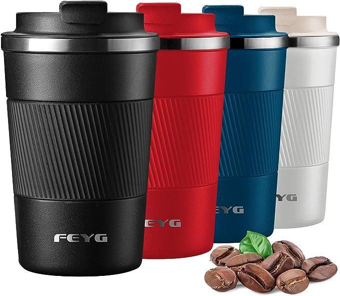 Termo cafe 380ml, FEYG Taza termo cafe para llevar de Acero Inoxidable, Termos pequeños para 100% cafe a Prueba de Fugas para Bebidas Frías y ...